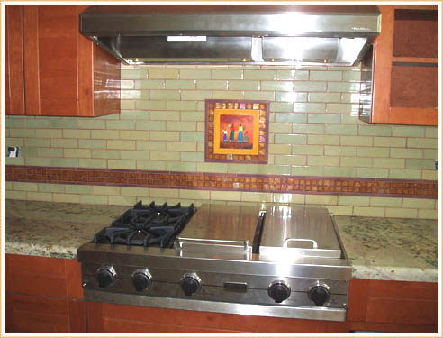 Glass tile backsplash for Spanish style kitchen backsplash